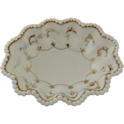 Victorian Turn of the Century Hand Painted Milk Glass Beaded Edge Dish Soap Candy