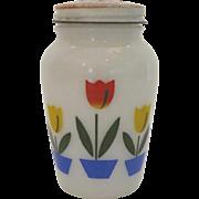 Anchor Hocking Fire King Vintage 1950's Pepper Shaker Tulips Milk Glass