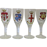 Vintage Hand Painted Pilsner Beer German Germany Glasses City Crests