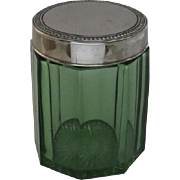 Vintage Green Glass Cigar Jar Tobacco Humidor with Metal Lid Depression Glass
