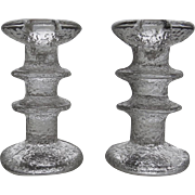 Vintage Pair of Festivo 2 Ring Candle Holders Timo Sarpaneva For iittala Finland Signed Candlesticks