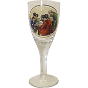 Vintage Large German Painted Beer Glass with Scene of Men Playing Cards