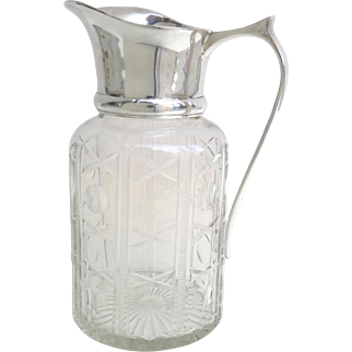 Vintage Cut Crystal Glass Silver Plated Water Pitcher Carafe