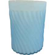 19th Century Light Blue Satin Glass Swirl Pattern Tumbler
