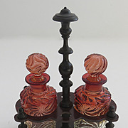 Pair of Baccarat Amberina Decanters in Rosewood Caddy