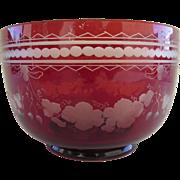 Bohemian Red White Cut Grape Motif Glass Finger Bowl c 1900
