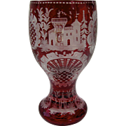 19th Century Bohemian Red Cut to Clear Glass Goblet Wine Castle Stags