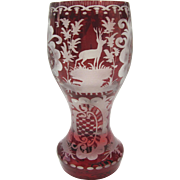 Bohemian Red Cut to Clear Glass Wine Goblet 19th Century
