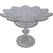 Large Anglo English Cut Glass Footed Compote 19th Century