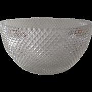 Large 19th Century Cut Glass Anglo Irish Diamond Cut Bowl