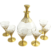 Art Deco Daum Nancy Gilt and Crystal Decanter with Six Matching Glasses Delvaux