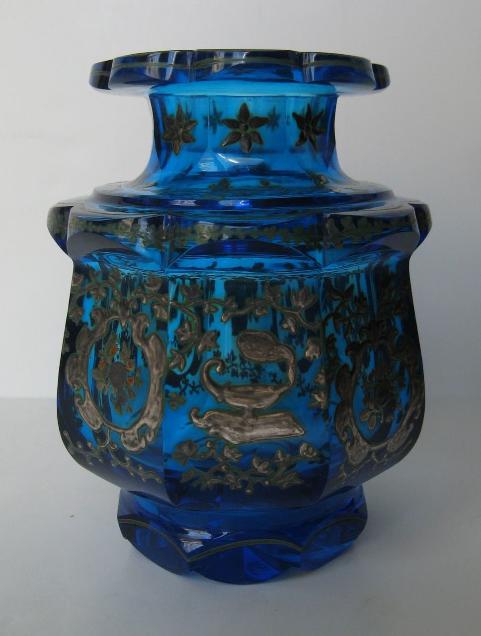 Turquoise Glass Vase With Scalloped Top And Shaped Base From Blacktulip On Ruby Lane