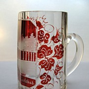 Bohemian Glass Stein, Red cut to Clear