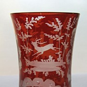Bohemian Glass Beaker with Etched Motif