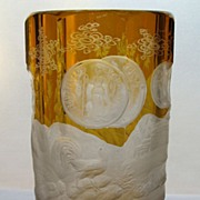 Bohemian Cut Glass Goblet with Etched Decoration