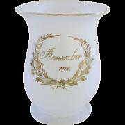"Victorian Hand Blown Milk Glass Tankard Mug with ""Remember Me"" Message"