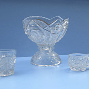 Child's Pressed Glass Punch Bowl Set