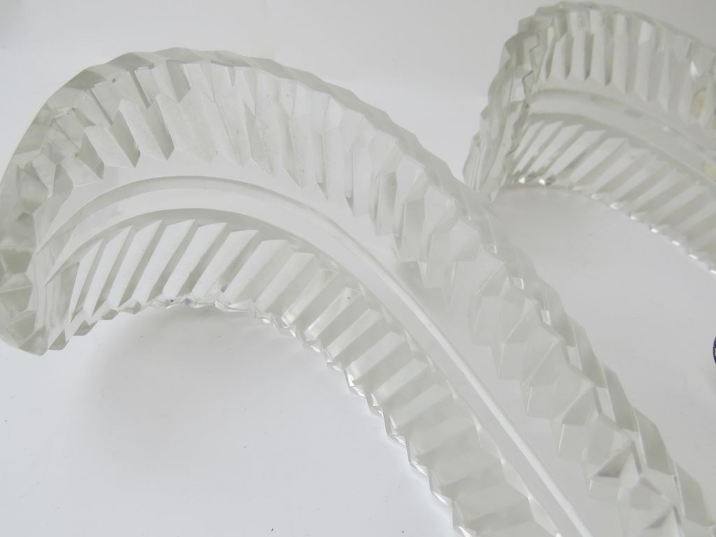 Three Large Cut Crystal Feather Plum Curtain Tie Backs