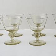 Set of 8 Vintage Smoky Topaz Colored Stemmed Glasses
