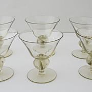 Set of 6 Vintage Smoky Topaz Colored Stemmed Champagene Glasses