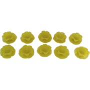 Set of Ten (10) Italian Petal Lemon Yellow Dessert Fruit Bowl with Underplates Sugarware Rough Sand