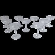 9 x Vintage (60's) Baccarat Genova Champagne/Martini Crystal Glasses Stems