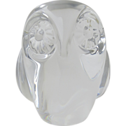 Hadeland Art Glass Crystal Owl Figurine or Paperweight