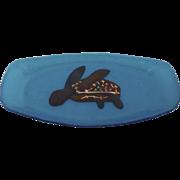 Signed Vintage Glass Dish Sea Turtle Infused