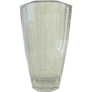 "Vintage Large Clean Slab Lines Crystal 9"" Vase"