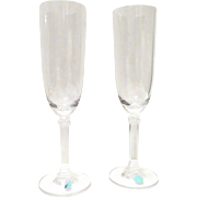 Pair Tiffany Hampton Crystal Champagne Flutes New in Box
