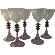 Vintage Venetian Wine Glasses 20th Century (set of 5) Hand-Blown Gold-Infused