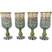 Vintage set of Four MacKenzie Child's Wine Glasses