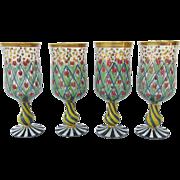 Vintage set of Four MacKenzie Child's Wine Glasses