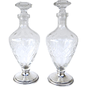 Pair of Vintage Cut Crystal Sterling Silver Base Decanters by Sheffield Silver Company