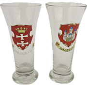 Vintage Pilsner Beer Glasses Salzburg and Danzig Town Crests