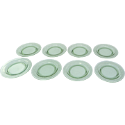 "Set of Green Glass Depression Pattern Plates 14 Plates 8 1/2"" & 6"""