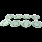 "Set of Green Glass Depression Pattern Plates 14 Plates 8 1/2"" & 6"""
