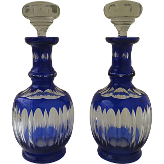 Pair Stunning Early 20th Century Pair Czechoslovakia Blue Cobalt Cut to Clear Decanters