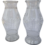 Pair Monumental Tall Etched Glass Vases Hurricane Shape Grape Motif c 1880