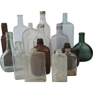 Vintage Colored Glass Bottle Collection Display Prop (Set of 15)