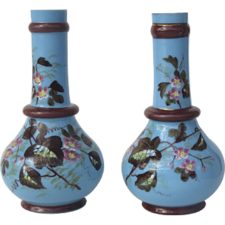 Pair of English Blue Bristol Glass Enamel Painted Vases with Applied Rings c 1880