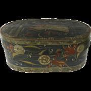 18th Century Pennsylvania Dutch Bride's Box Handpainted Bride & Groom Oval Pine Lapped Lidded