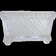Sandwich Glass Open Salt 19th Century, Waffle Diamond Pattern