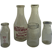 Group of (5) Five Vintage Glass Milk Cream Bottles Paper Lids Country Store Kitchen