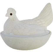 Vintage Large White Milk Glass Hen on Basket Glass Eyes