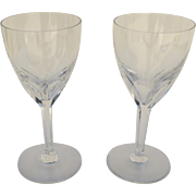 Baccarat Genova Clear Crystal Wine/Water Glass Goblet Signed Acid Etched Set of Two 7.5""