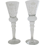 Pair of Vintage Tall Toasting Wine Glasses Etched Crown