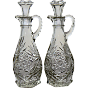 Vintage Pair Glass Cruets Oil Vinegar Pressed Clear Glass