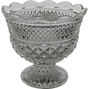 Vintage Beautiful Cut Glass Compote Fruit Bowl Footed Hobnail Vintage
