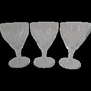 "3 x Val St. Lambert Vintage Crystal Glasses Gevaert 6 1/4"""